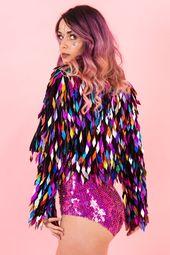 Rainbow Harlequin Queen Jacket Eine Jacke voller Farbe und funkelt für alle