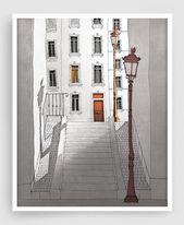 Paris illustration – Morning shine (gray model) – Illustration Giclee High-quality Artwork Print Paris Prints Posters House Decor Architectural Drawing