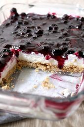 No Bake Blueberry Cheesecake Riegel mit Graham Cracker Kruste. Ein leichter Sommer …