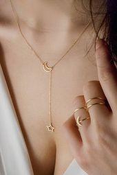 Mond und Stern Halskette, Gold Lariat Halskette, Halbmond Charme, 9K 14K 18K Gelbgold Halskette, massivegold Charme, himmlische Geschenk für Sie