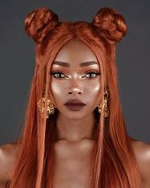 """Nyané® Lebajoa on Instagram: """"Favourite hair 1 or 2 Same thing different hair ⚔️ All jewellery – @regalrose  Pic 1  Lips: @limecrimemakeup plushies, grape jelly 🍇 Eyes:…"""""""
