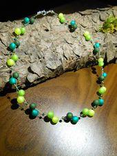 Neu unikat moos grün Polariskette bunt Halskette Collier Polaris perlen kette i…