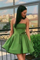 Avocado Green Strapless Homecoming Dress with Belt – vestiti