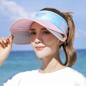 Women summer hats visor sunscreen big hat cover face wild antiuv travel beach sun hat baseball caps adjustable   a – Products