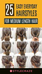 25 Einfache Alltagsfrisuren für mittellanges Haar