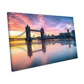 Mercury Row Leinwandbild Pinke London Bridge bei Sonnenuntergang | Wayfair.de