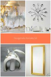 Handgemalte Abstrakte Gold Leaf Kunst mit Grau und Weiß Ombre Bilder Handmade W…