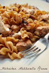 Recette: Nouilles crémeuses au poulet, mozzarella et tomates séchées   – Kochrezepte