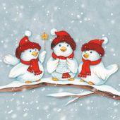 Serviette 034 trois Weihnachstvoegel-034 serviette …