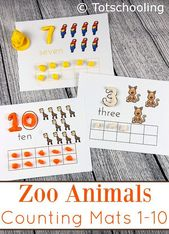 Zoo Animals Counting Mats