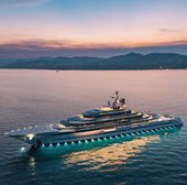 Beautiful view of the luxury yacht. Enjoying the lovely Sunset is a way of life….