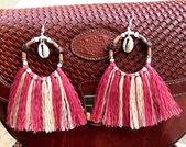 Africa Handmade Multicolor Beaded Tassel Hoop Earrings   Wood Bead Tassel Earrings   Bagie,Bagie, Mauve Pink, Beaded Tassel Earrings