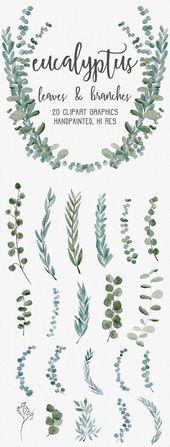 WATERCOLOR EUCALYPTUS GRAPHICS, gewerbliche Nutzung, gedämpfte Aquarellblumen, Eukalyptus-Cliparts, Kränze, moderne Pflanzenblätter
