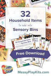 Free sensory bin guide: 32 Items To Add Into Sensory Bins. Download this resourc…