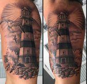100 Leuchtturm Tattoo Designs für Männer – ein helles Beacon der manly Ideen