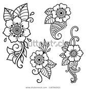 Set Mehndi Flower Pattern Henna Drawing Stok Vektör (Telifsiz) 1187042632