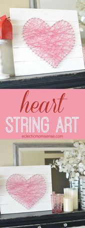 Learn how to make an easy DIY heart string art.  Just some board, string, and na…
