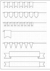 Bullet Journal monatliche Banner-Header und Vorlage