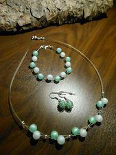 New unique jewelry set Polaris pearls Polaris white mint chain bracelet earring   e …