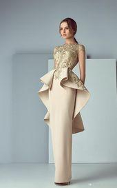 Arabic New Dresses Evening Wear with Ruffles Sheer Bateau Neck Back Peplum Eveni…
