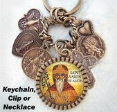 St. Aaron of Aleth Keychain, Clip or Necklace, Patron Saint, Confirmation Gift, … – Products