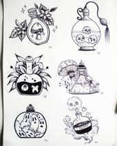 • Witchy things • Bottle • Black and White • Art • Drawing • Black ink • Tattoo idea • Illustration • Draw • Brilliant • Nature …