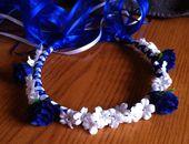 Flower Girl Crown - Rosebud & Gypso Bridal Bridesmaid Flower Head Wreath Floral Ribbon Halo Head Piece Red Black Blue Garland C-Margaret