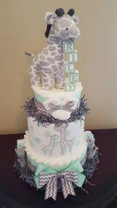 Baby Giraffe Windelkuchen! Entzückendes Babypartymittelstückgeschenk. … – Baby Diy