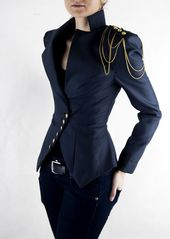Asymmetrische Blazer, Damen Jacke, Büro Anzug, Schulter-Kette, Marine Anzug   Milla mit Kette