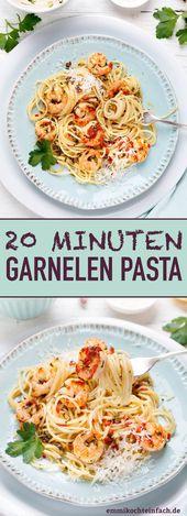 Pâtes rapides aux crevettes – en 20 minutes sur la table   – emmikochteinfach – Der Food-Blog mit einfachen Rezepten, die gelingen