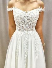 Beautiful White Wedding Party Dresses Off the Shoulder with Appliques
