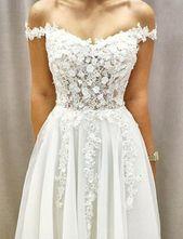 Schöne weiße Hochzeit Party Kleider von der Schulter mit Applikationen