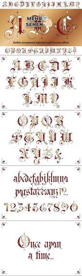 Gotisches Zieralphabet #Schrift #Typografie #SchwarzBrief #Gesicht #Schriftdesign …
