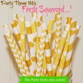 Paper Straws, 25 FRESH SQUEEZED Lemon Yellow Assorted Party Paper Straws, Yellow Paper Straw, Lemona