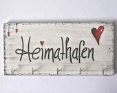 Schlüsselbrett Holz Hakenleiste Shabby Herz Sclüsselbrett mit Herz Aufbewahrung