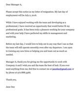 The Above Are Some Standard Formal Resignation Letter Samples