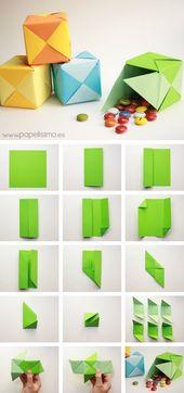 Schritt für Schritt Anleitung zum PUZZLE Origami-Pappkarton – Basteln