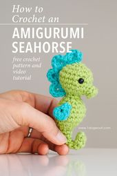 Free crochet pattern for an amigurumi seahorse. This is part of the Amigurumi Ad