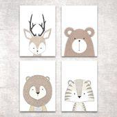 Bild Set Tiere Kunstdruck A4 Hirsch Bär Tiger Lion Kinderzimmer Dekor Geschenk   – Nursery Room Decor