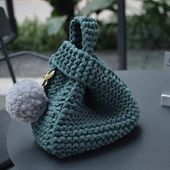 Wrist Bag, Purse, Knit bag, Handmade, Tshirt yarn bag, Reward, Reward for her, Distinctive, Knitted bag, Crochet Bag