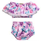 Neugeborenes Kind Kleinkind lila Blumenkleidung Baby Mädchen gekräuselte Tube Tops + kurze Hosen Outfits   – Products