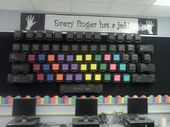 Computer Keyboard Bulletin Board made out of black to go containers with black fabric in the back the color coding matches the keyboarding program I u…