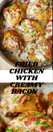 FRIED CHICKEN WITH CREAMY BACON  Pan-fried crybaby thighs in a creamy monastic s…