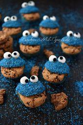 Muffins de Cookie Monster   – Muffins und Cupcakes
