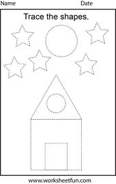 Free printable preschool worksheets – This one is trace the shapes – Best Images and pictures Blog