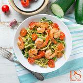 Courgetti met garnalen en kerstomaatjes | Koolhydraatarme recepten PowerSlim | F…