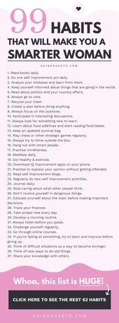 99 Gewohnheiten, die Sie zu einer klügeren Frau machen + KOSTENLOSE druckbare Liste