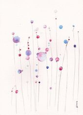 Abstract painting in watercolor PRINT 8×11 abstract buble home decor illustratio…, #8×11 #…