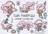 Baby Ilustration Premium-Vektor Clipart  Kawaii Meerjungfrauen  süßen