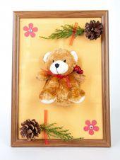 Teddybär Wandbild dunkelorange, Wanddekoration für Kinderzimmer, Weihnachtsdekoration …   – Anbau Haus